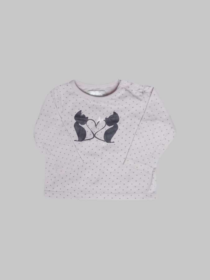 Tee shirt ML fille 3 mois <br> MES PETITS CAILLOUX 0